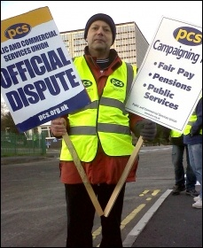 Dave Warren when he was PCS rep Swansea DVLA, taking part in a PCS National day of protest on 30 November 2012, photo R. Job