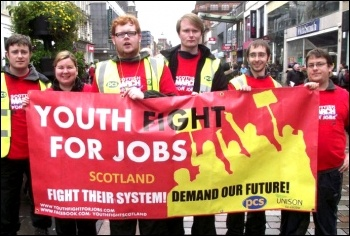 Scotland Youth Fight for Jobs arrives in Glasgow, 20 October 2012, photo by Matt Dobson