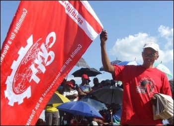 CWI flag at meeting of Harmony Gold workers, South Africa, February 2013 , photo by DSM