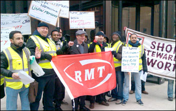 RMT security and safety staff strike against bullying and harassment and an attempt to impose workplace changes without agreement 25th February 2013 , photo by P Mitchell