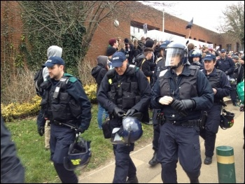 Police at Sussex university, 25.3.13, photo Suzanne Beishon