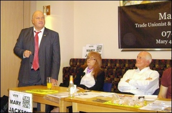 Bob Crow, RMT general secretary, addresses the Trade Unionists and Socialist Coalition in Doncaster for Mary Jackson, photo A Tice