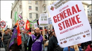 TUC demo 20 October 2012 with placard calling for a 24 hour general strike , photo Senan