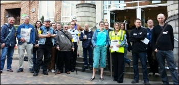 Sheffield DWP contact centre workers strike to support PCS rep Lee Rock