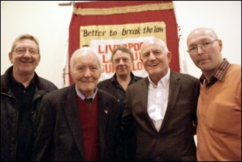 Liverpool 47 rally, 27.4.13 on 30th Anniversary: Left to right: Len McCluskie,Tony Benn, Paul Astbury, Tony Mulhearn and Dave Walsh, photo Harry Smith