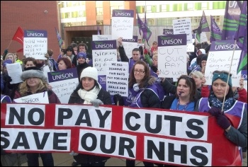 Unison staff at Pinderfields hospital strike, photo Iain Dalton