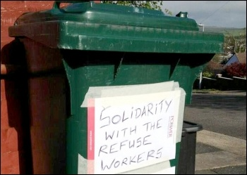 Widespread support for the Brighton bin workers shown on some bins in the area, photo Support Brighton Council workers Facebook page