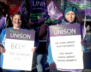 Unison health workers in Mid Yorks on strike, photo by Iain Dalton