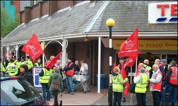 Sacked Tesco drivers in Doncaster, 18.5.13 , photo John Gill