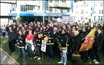 London firefighters rally against service cuts, photo by Ben Robinson