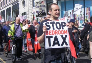 Leeds anti-bedroom tax demonstration 21 April 2013 , photo Mid Shelley