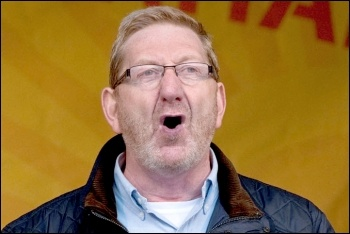 Len McCluskey addresses TUC demonstration, photo by Paul Mattsson