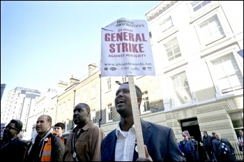 NSSN lobby of the TUC general council meeting in April 2013, demanding they name the day for a 24-hour general strike, photo Paul Mattsson