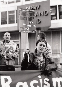 Youth Against Racism in Europe protests outside Scotland Yard in 1993, photo Richard Newton