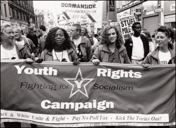 Hannah Sell (centre right) with the Youth Rights Campaign on the Glasgow demonstration against the Poll Tax 9-9-1990, photo Dave Sinclair