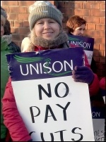 Unison NHS workers on strike against huge cuts in the Mid-Yorkshire Trust hospitals , photo Iain Dalton