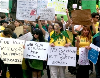 Brazilians in London protest on 13 June 2013 in support of the struggles in Brazil, photo H Pattison