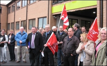 Unite members and others supporting Kevin Bennett outside his appeal hearing against suspension on 1st July 2013