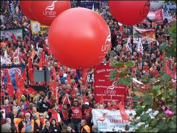 Unite contingent on 20 October 2012 demo against austerity, photo by C Job