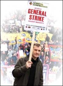 NSSN placard: 24 Hour General Strike Against Austerity