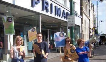 Sick of Your Boss week of action targetting Primark - protest in Leytonstone, photo Nancy Taaffe