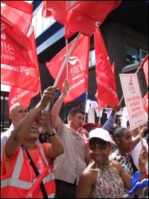 One Housing Group workers, members of Unite, striking against massive pay cuts, photo Naomi Byron