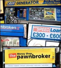 What recovey? Pawnbrokers and loan sharks proliferate , photo by Photomontage The Socialist