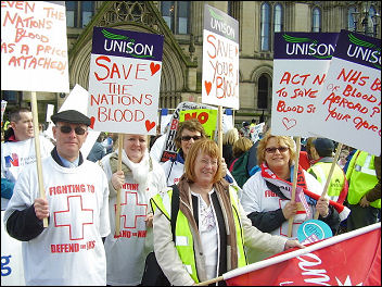 Unsion workers in blood processing on the NHS demonstration March 3rd 2007, photo Paul Mattsson