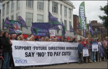Future Directions care workers on strike, August 2013, photo Hugh Caffrey