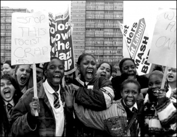 Tower Hamlets school students striking on 9 March 1994 against racist attacks, photo by Andy walker