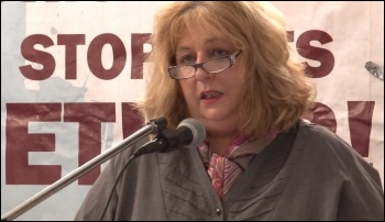 Janice Godrich, President of PCS, speaking at the NSSN lobby of the TUC congress 2013, called Miliband to account, photo  Socialist Party