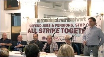 Martin Powell-Davies addresses the NSSN lobby of TUC congress 2013, photo by  Socialist Party