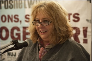 Janice Godrich, President of PCS, speaking at the NSSN lobby of the TUC congress 2013, called Miliband to account, photo by Paul Mattsson