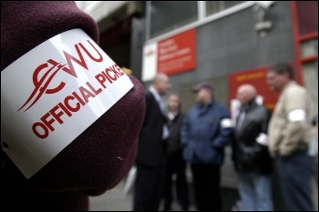 CWU official picket armband, photo Paul Mattsson