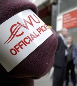 CWU official picket armband , photo Paul Mattsson