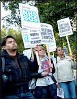 Lively demo against cuts Whipps Cross Hospital 16 September 2013, photo by Paul Mattsson