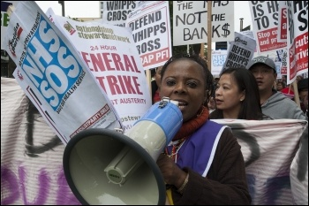 Demonstration against NHS cuts at Whipps Cross hospital, East London 21 September 2013, photo Paul Mattsson