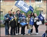 Teachers on strike in Leicester on 1 October, photo Heather Rawling