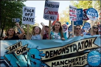 TUC demonstration in Manchester against Tory Party conference 29/09/13 demands Save our NHS, photo Paul Mattsson