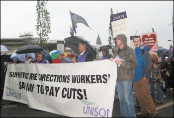 Future Directions workers on strike, 3.10.13, photo Hugh Caffrey