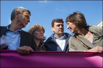 Dave Prentis and Frances O'Grady at TUC demo in Manchester: 50,000 march against Tories demanding action on NHS, photo Paul Mattsson