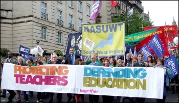 Teachers strike and march in Bristol 17 October 2013 as part of selective action by the NUT and NASUWT, photo Matt Carey