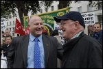 Bob Crow on RMT lobby against privatisation on the railways, photo Paul Mattsson