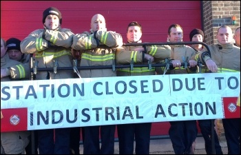Firefighters striking on 4th November 2013, Leicester's western station, New Parks, photo by Steve Score
