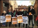 Napo pickets in Canterbury, 5.11.13, photo Dave Semple
