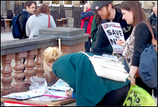 Socialist Party campaign stall in Doncaster, photo by Iain Dalton