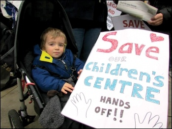 A young service user on the 2 December 2013 Save Kent's Children's Centres protest