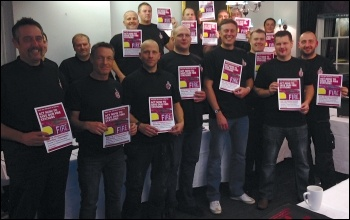 Surrey FBU area reps prepare for the 'save our fire service' march on 7 December