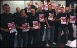 Surrey FBU area reps prepare for the 'save our fire service' march on 7 December, photo Paul Couchman