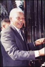 Nelson Mandela at Downing Street in 1996, photo Brent Moore